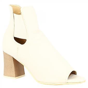 Leonardo Shoes Women's handgemaakte peep toe hakken enkellaarsjes in wit kalfsleer