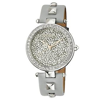 Rebel Women's RB101-4161 Rockaway Parkway Crystal Filled Dial Grey Leather Watch