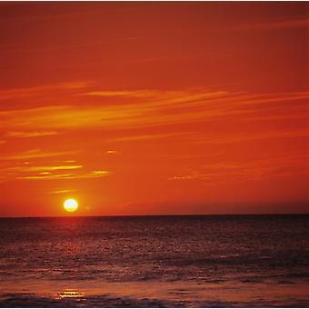 Orange Sunset Over Ocean Water Sunball On Horizon PosterPrint