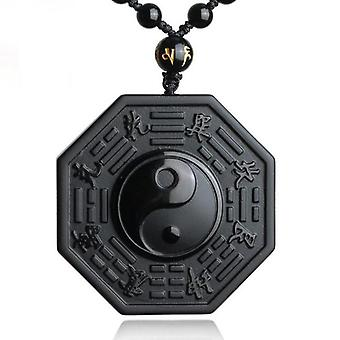 Black-obsidian Yin-yang Necklace Pendant Chinese Bagua Men's Women's Jewelry