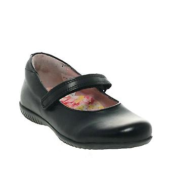 PETASIL Plain Black Ballet Shape Velcro Shoe