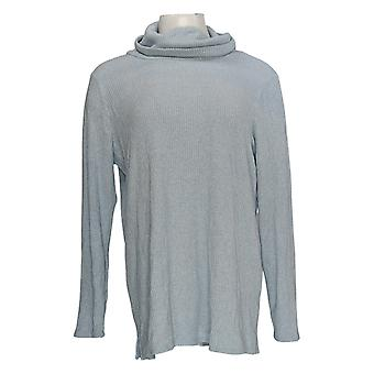 Lisa Rinna Collection Femmes's Top Long Sleeve Cowl Neck Blue A385020