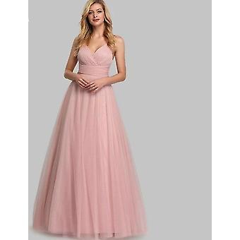Women's Long Ever Pretty Sleeveless A-line V-neck, Tulle Elegant Dress