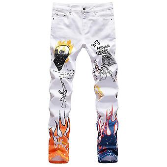 Men's Fashion Letters Flame Printed Jeans Slim Straight Colored Painted Stretch