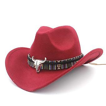 Nők/férfiak Wool Hollow Western Cowboy Kalap, Lovas Sombrero Sapka Bojttal