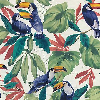 Tropische vogel behang wit / multi rasch 863802