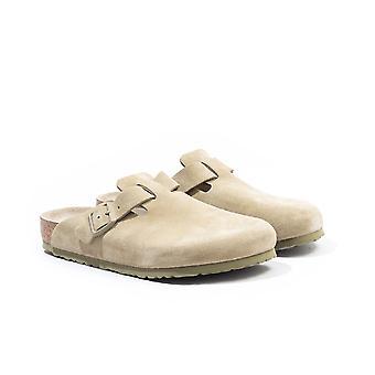 Birkenstock Boston Suede Leather Sandals - Faded Khaki