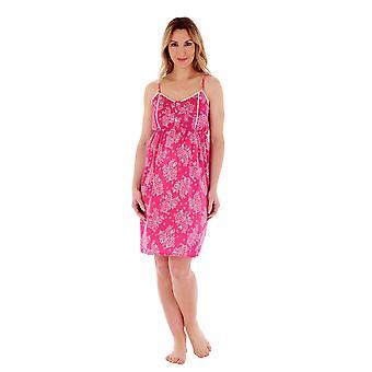 Slenderella ND55210 Women's Raspberry Floral Cotton Nightdress
