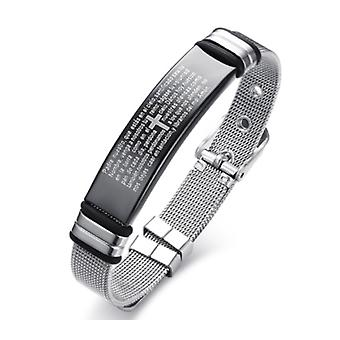 Stainless Steel Cross Bible Charm Bracelet Wristband