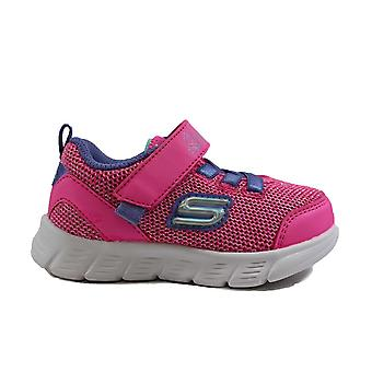 Skechers Comfy Flex-Moving On 302107N Pink Mesh Girls Rip Tape/Bungee Lace Trainers