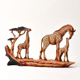 Widdop & Co. Wood Effect Resin Figurine - Triple Giraffe