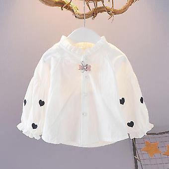Baby Cotton White Soild Full Shirt