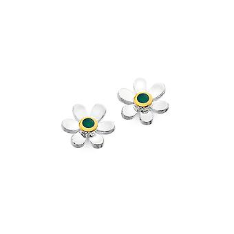 Sterling Silver Stud Earrings - Origins Daisy + Emerald + Gold Plated