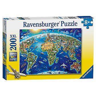 Ravensburger Puzzle World Landmarks Map XXL 200 pezzi