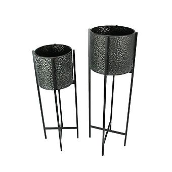 Set of 2 Charcoal Gray Pebble Textured Finish Metal Planters With Tall Stands