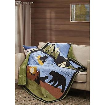 Spura Home Pictorial Bear Lake Primitive Contemporary Quilted Throw