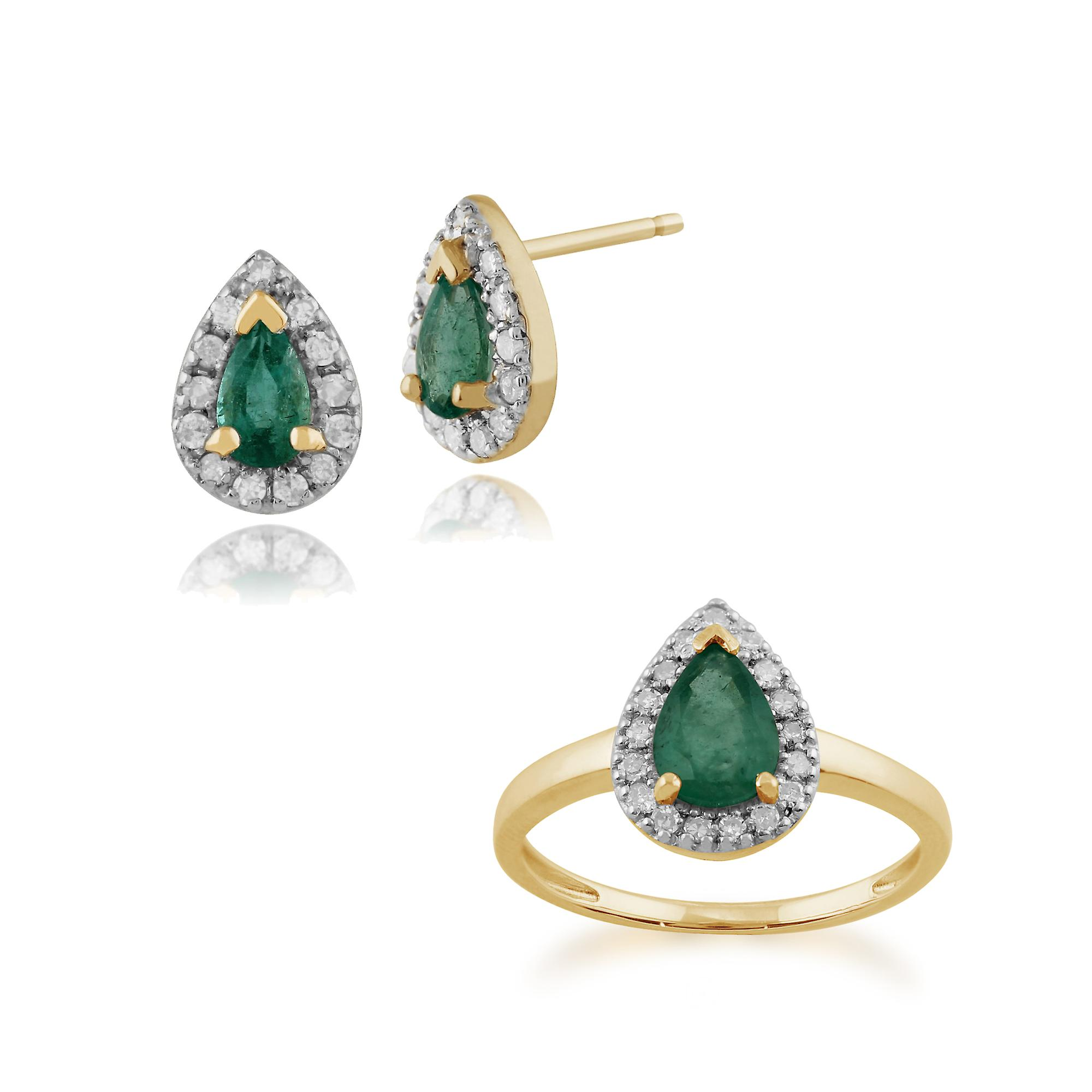 Gemondo 9ct Yellow Gold Emerald & Diamond Pear Cluster Stud Earring & Ring Set
