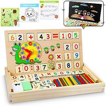 HanFei Montessori Mathe Spielzeug, Magnetisch Holz Lernbox, Zahlenlernspiel mit Spielkarten†Tafel,