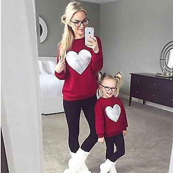 Casual Huppari vaatteet, äiti ja tytär vaatteet