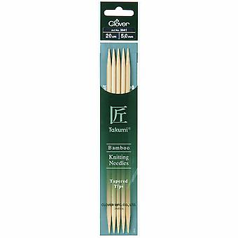 Clover Knitting Pins: Double-Ended: Set of Five: Takumi Bamboo: 20cm x 5.00mm