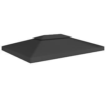 vidaXL 2-stage pavilion roof 310 g/m2 4x3 m Black