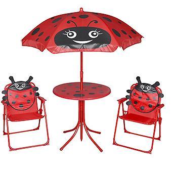 vidaXL 3-pcs. Garden Bistro Set for Kids with Umbrella Red