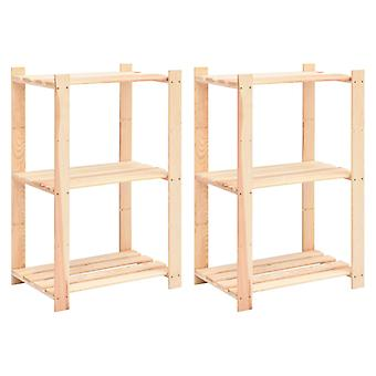 vidaXL Storage shelves 3 floors 2 pcs. 60x38x90cm solid wood Pine 150kg