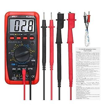 Digital Multimeter Automotive Meter Tester with Battery Alligator Clips Test Leads AC/DC Voltmeter Ammeter Ohmmeter Tests Continuity Diodes Transistors Temperature with LCD Backlight