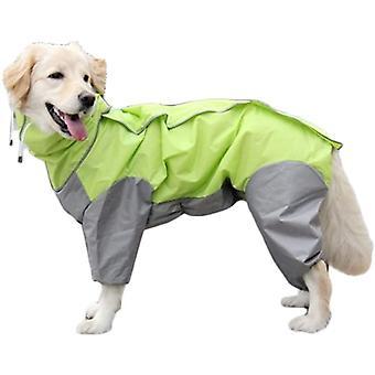Green Dog Raincoat With Detachable Hoodie Drawstring Coat, 10 Sizes