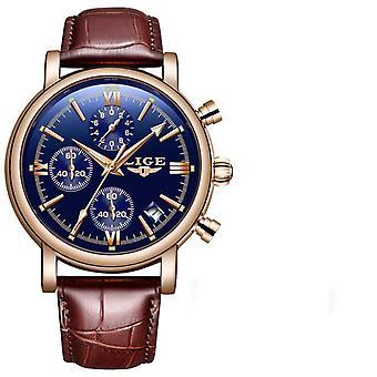 Business Leather Waterproof Quartz Watch(BLUE1)