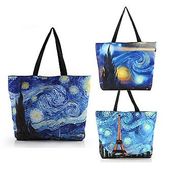 Painting Starry Sky Pattern Canvas Bags Casual Zipper Shoulder Bags