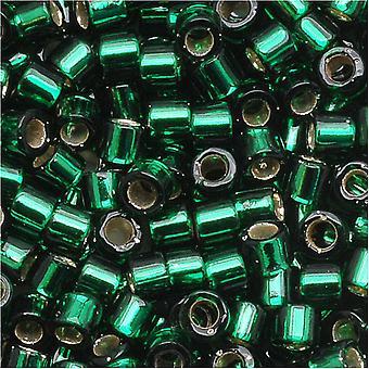 Perline di semi Miyuki Delica, taglia 10/0, 7,2 grammi, argento foderato verde DBM0148
