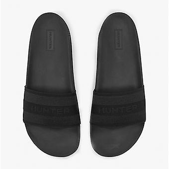 Hunter alkuperäinen elastinen liukumäki naisten sandaalit musta
