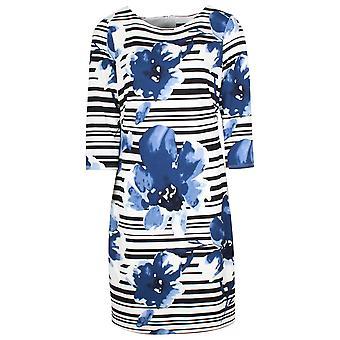 Frank Lyman 3/4 Sleeve Stripe & Floral Shift Dress
