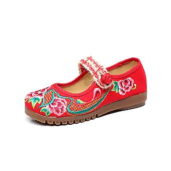 Women's Chinese Ethnic Embroidery Flat Ballet Marry Janes Cheongsam Dancing Shoes Huaxi