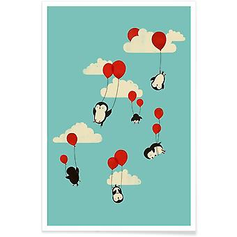 JUNIQE Print - We Fly - Penguins Poster in Blue & Red