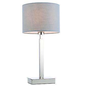 Lampe de table plaque chromée, abat-jour en tissu gris avec prise USB