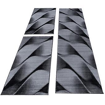 Bed grensloper set tapijt abstracte golven patroon 3 delen slaapkamer gang Zwart Grijs gevlekt