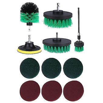 キッチン/車/床グリーンのための12pcsドリルブラシアタッチメント