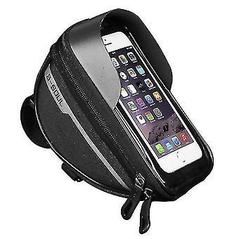 Polkupyörä vedenpitävä puhelinpussi, kosketusnäytön toiminta, kuulokelompakon säilytyspussi (musta)