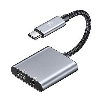 60W PD USB C To 3.5mm+Type C Headphone Digital Audio  DAC Hi Res Aux Cable For Adapters & Converters
