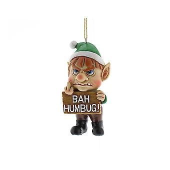 SISTA FÅ - Bah Humbug! Grumpy Elf Vuxen Jul Bauble Prydnad - 10cm