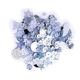 LAST FEW - 20g Assortiment blanc &argent paillettes avec trous pour épingles