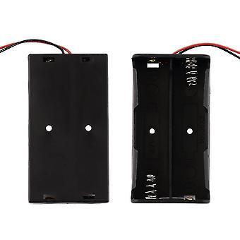Чехол для хранения батареи пластиковый для 2 x 18650 держатель коробки черный с проводами