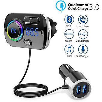 بلوتوث 5.0 اليدين مجموعات السيارات FM الارسال MP3 لاعب USB شاحن سريع AUX