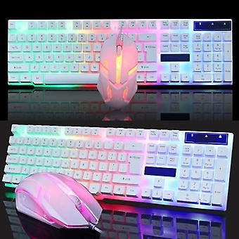 (White) Gaming Game Keyboard And Mouse Set USB Wired LED Colorful Backlight Universal