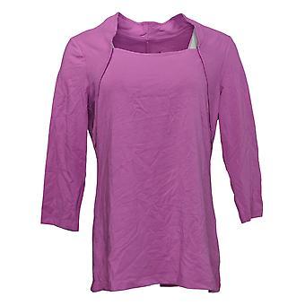 Isaac Mizrahi Live! Top donna raccolto collo quadrato maglia viola A392614