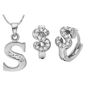 (S)  Alphabet Rhinestone Womens 26 Initial Letter Huggie Earrings Necklace Jewelry Set Silver