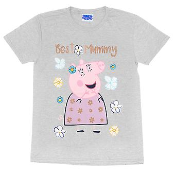 Peppa Pig Bästa mamma Gris Kvinnors Pojkvän Passar T-Shirt   Officiella varor