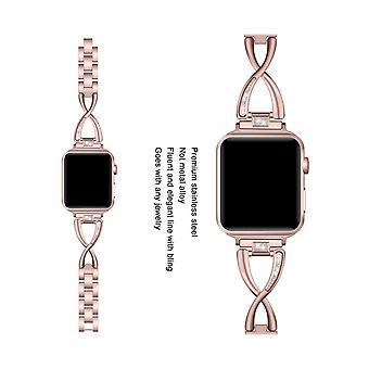 أزياء X على شكل معدني الفولاذ المقاوم للصدأ حزام الصلب لامعة حزام Iwatch حزام لشركة آبل ووتش 5 4 3 2